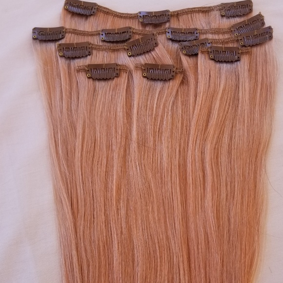 Hair Faux You Accessories 20 Clip In Human Hair Extensions Rose